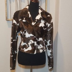 Karen Kane Lifestyle Cow Print Jacket - Large